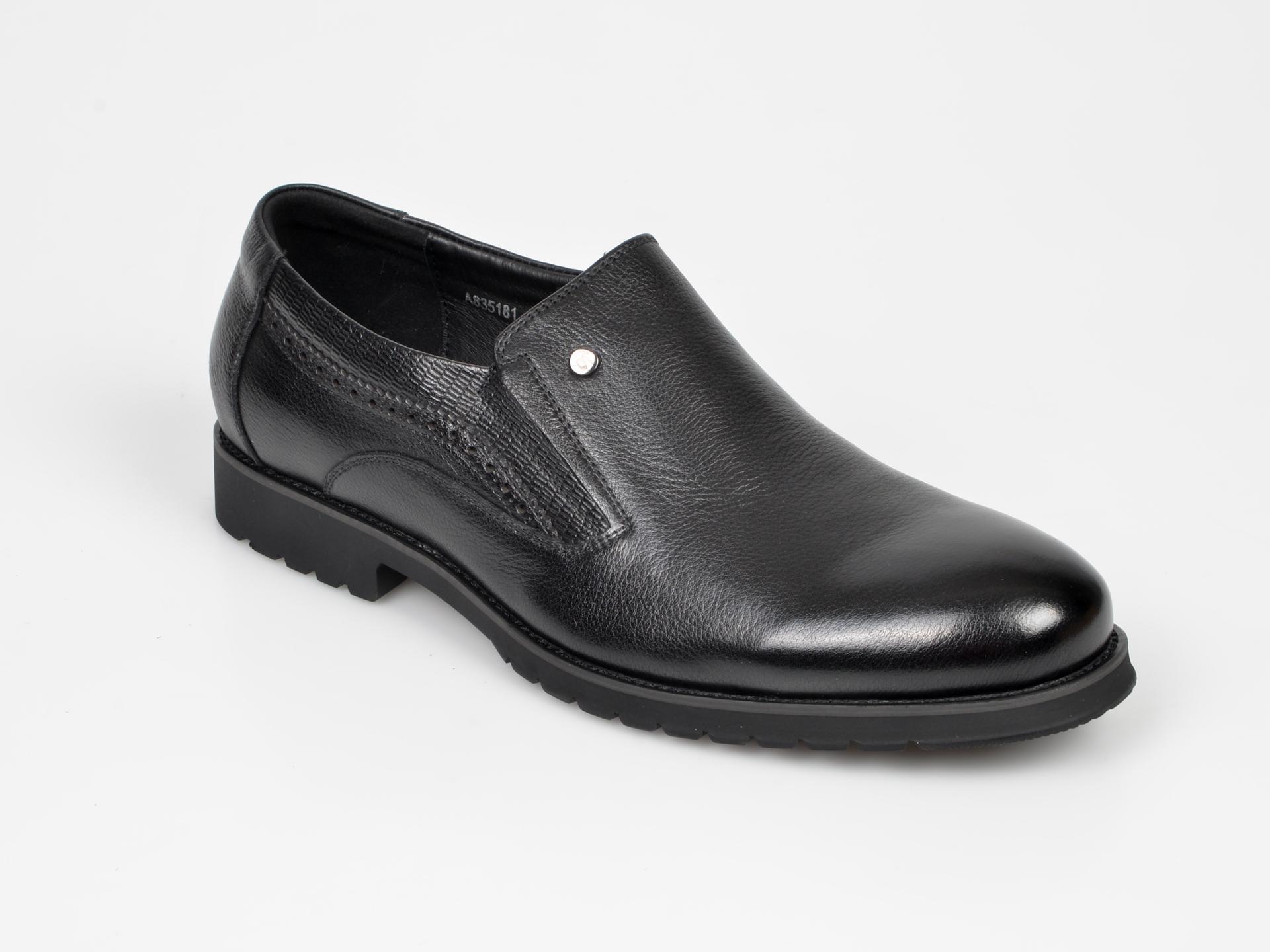 Pantofi Otter Negri, A835181, Din Piele Naturala