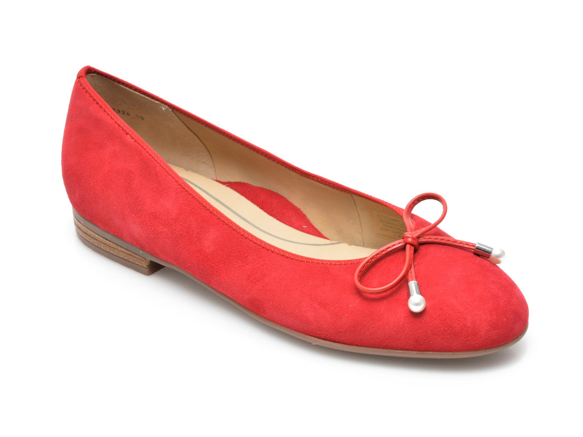 Balerini dama ARA, 31324, din piele intoarsa rosii
