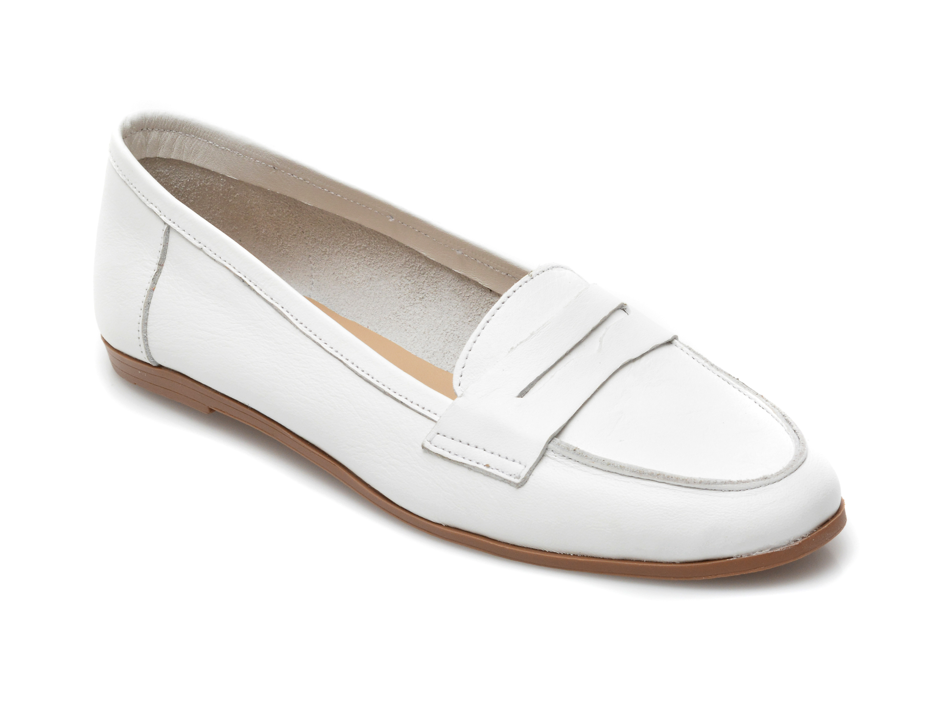 Balerini dama BABOOS, 2, din piele naturala albi