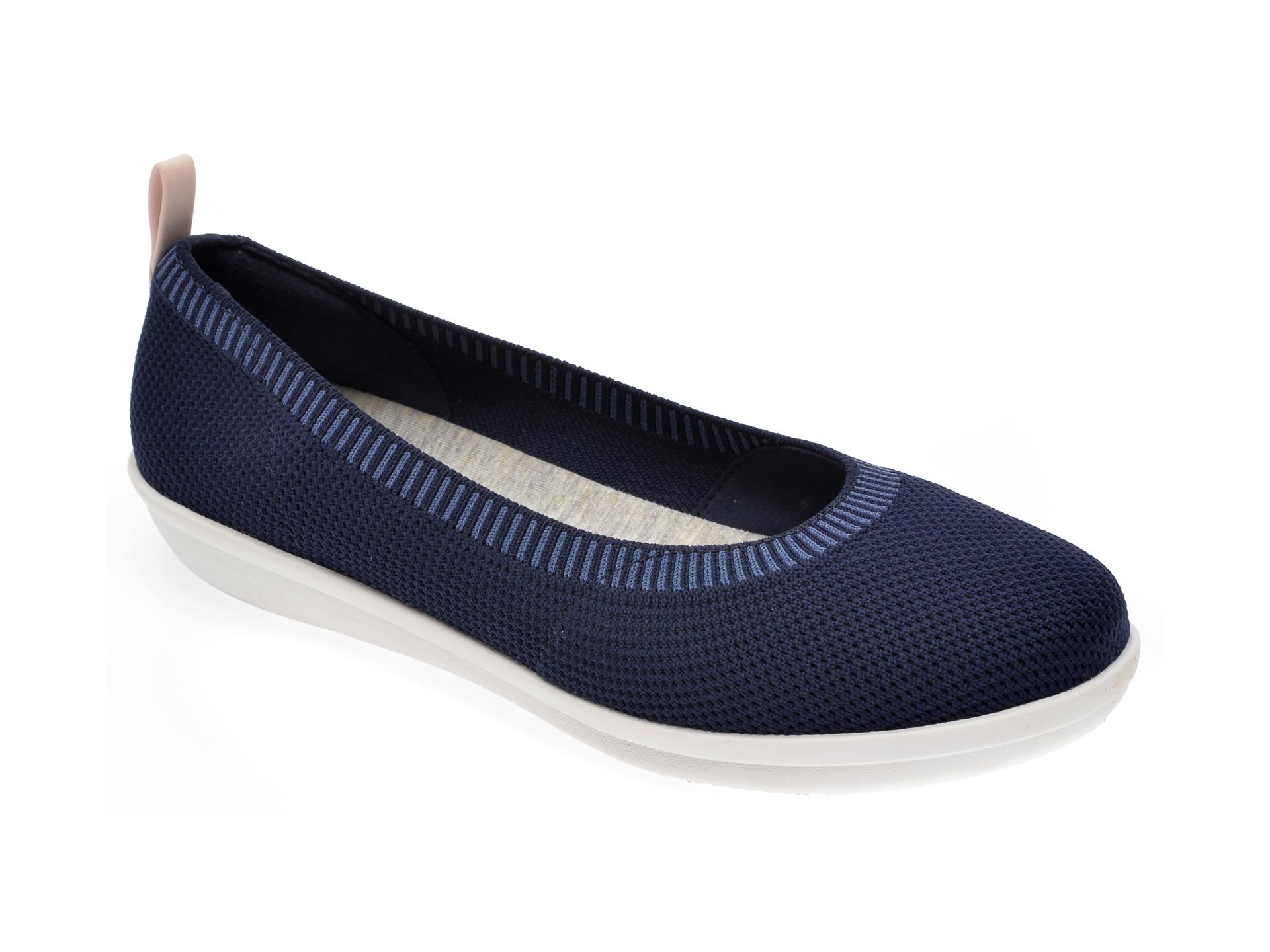 Espadrile CLARKS bleumarin, Step Glow Slip, din material textil