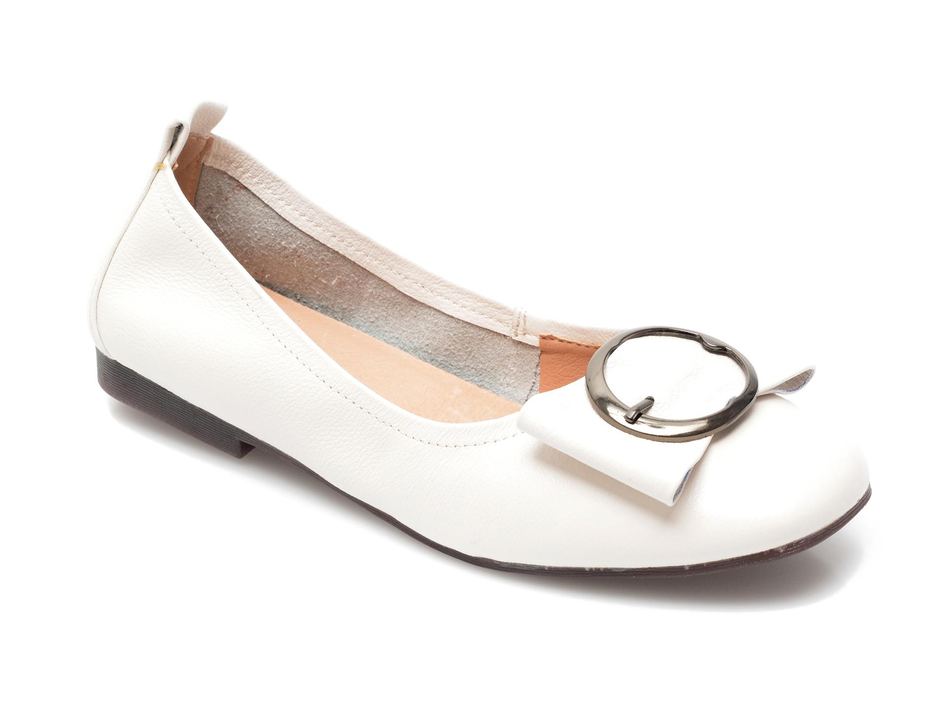 Balerini dama PASS COLLECTION, T2812, din piele naturala albi