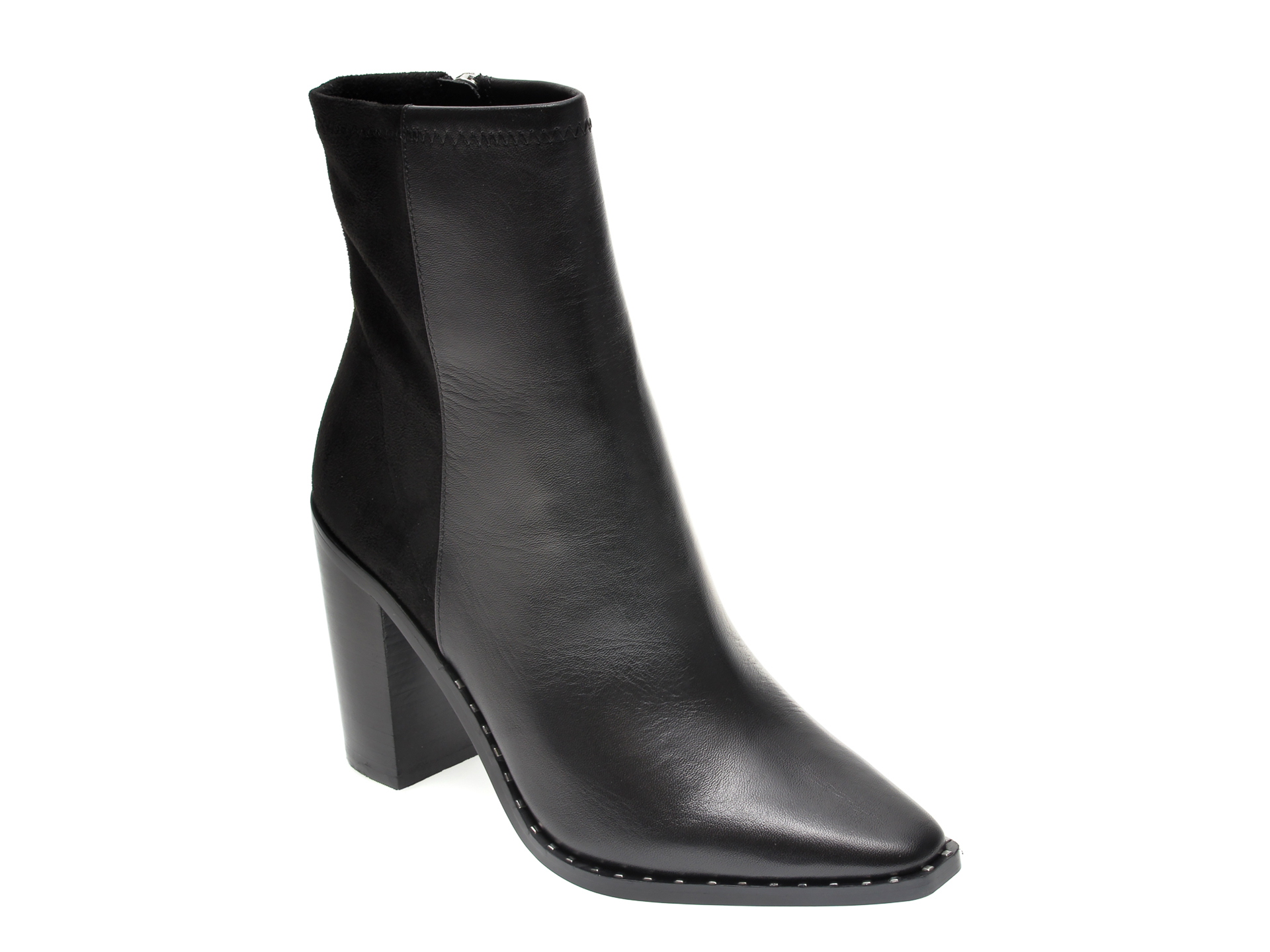 Botine ALDO negre, Alycia001, din material textil si piele naturala imagine otter.ro