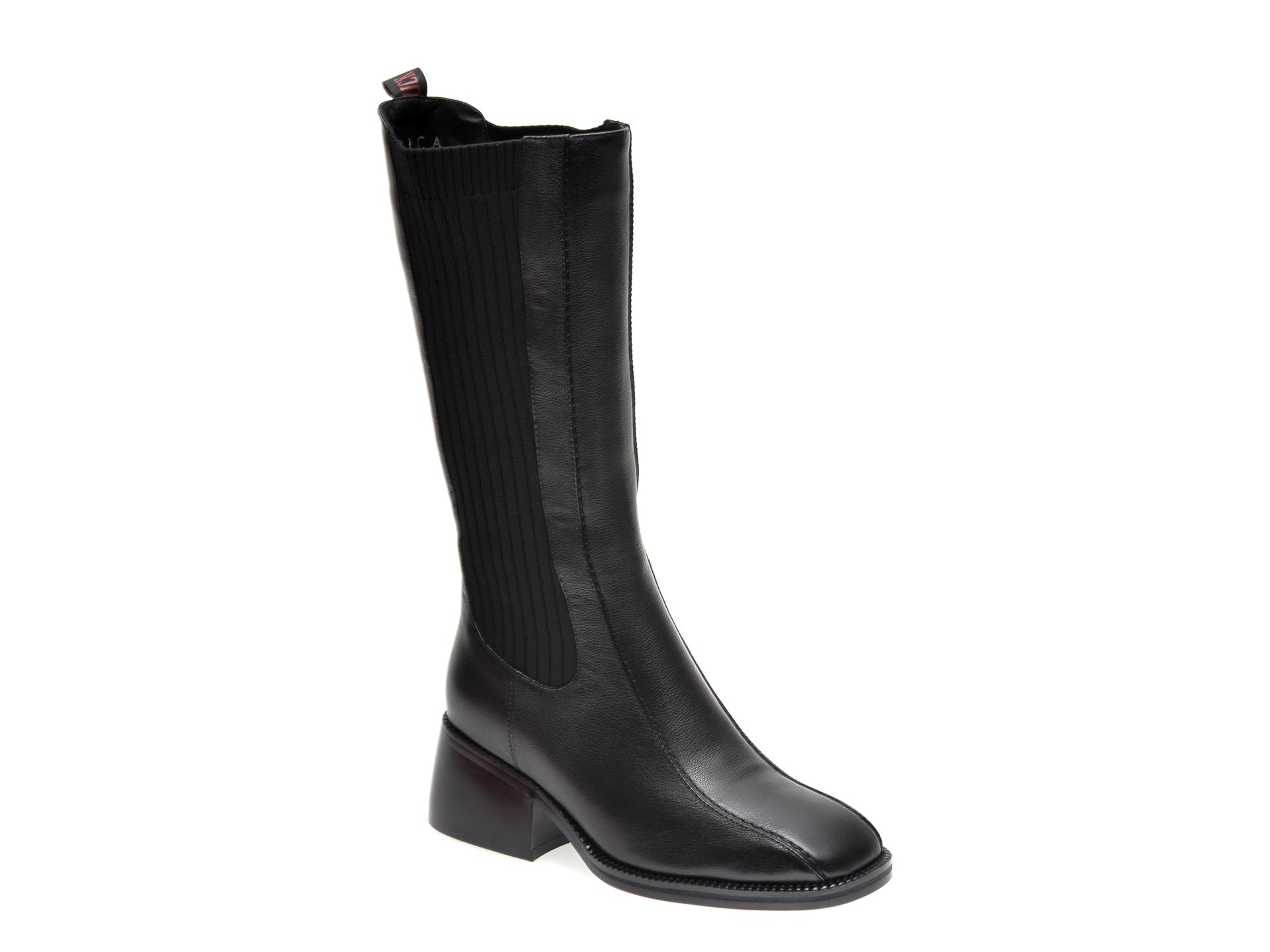 Cizme EPICA negre, W883771, din material textil si piele naturala