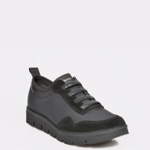 Pantofi sport negri, Lisabona, din material textil si piele intoarsa - c89z01111dklisbona diagonala simpla fundal gri - Pantofi sport negri, Lisabona, din material textil si piele intoarsa