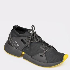 Pantofi sport negri, Yulia01, din, material textil - d59s01111dkyulia01 diagonala simpla fundal gri - Pantofi sport negri, Yulia01, din, material textil