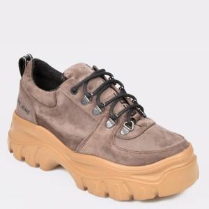 Pantofi PEPE JEANS maro, Ls10389, din material textil - jp9tb2111dkls10389 diagonala simpla fundal gri - Pantofi PEPE JEANS maro, Ls10389, din material textil