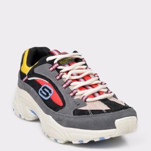 Pantofi sport SKECHERS gri, 13450, din material textil si piele - kz9z14111dk1345099 diagonala simpla fundal gri - Pantofi sport SKECHERS gri, 13450, din material textil si piele