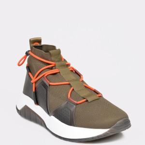 Pantofi sport HUGO BOSS kaki, 4639, din material textil si piele naturala - xe9z40111bk4639999 diagonala simpla fundal gri - Pantofi sport HUGO BOSS kaki, 4639, din material textil si piele naturala