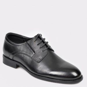 Pantofi Otter Negri, A00481, Din Piele Naturala