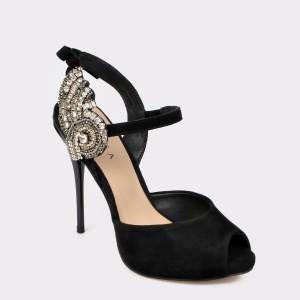 Sandale EPICA negre Typ2193 din piele intoarsa