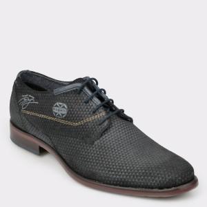 Pantofi Bugatti Negri, 16308, Din Piele Intoarsa