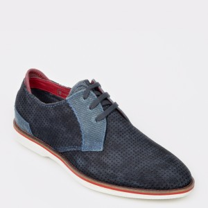 Pantofi BUGATTI bleumarin, 67101, din piele intoarsa