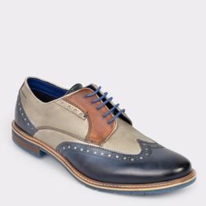 Pantofi BUGATTI bleumarin, 25904, din piele naturala