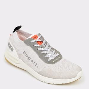 Pantofi sport BUGATTI albi, 65801, din material textil