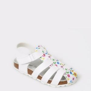 Sandale LA COMPANIA NATURAL albe, din piele ecologica