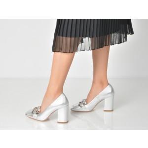 Pantofi EPICA argintii, 1400, din piele naturala