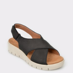Sandale CLARKS negre, Un Karely Sun, din nabuc