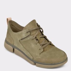 Pantofi sport CLARKS kaki, Trivela, din nabuc
