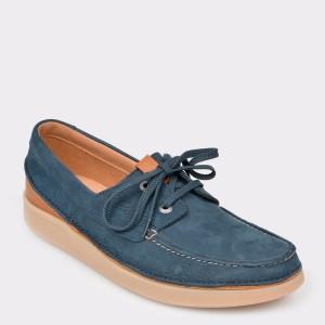 Pantofi CLARKS albastru, Oaklsun, din nabuc