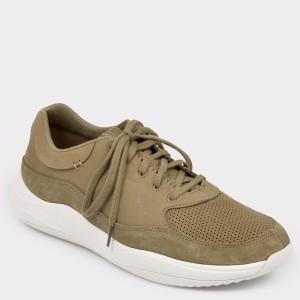 Pantofi CLARKS kaki, Sift91, din nabuc