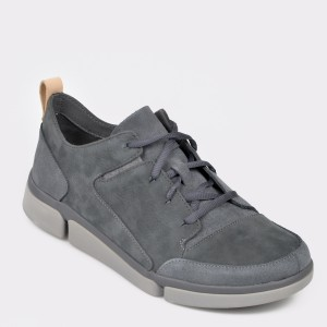 Pantofi CLARKS gri, Trivela, din nabuc