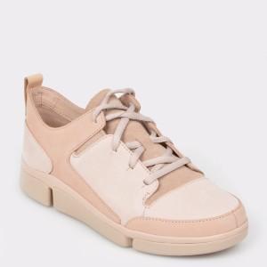 Pantofi CLARKS nude, Triturn, din nabuc