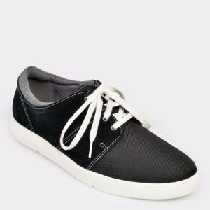 Pantofi CLARKS negri, Landedg, din piele intoarsa si material textil