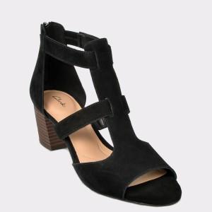 Sandale CLARKS negre, Delofae, din piele intoarsa