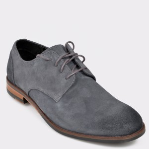 Pantofi CLARKS gri, Flowpla, din piele intoarsa