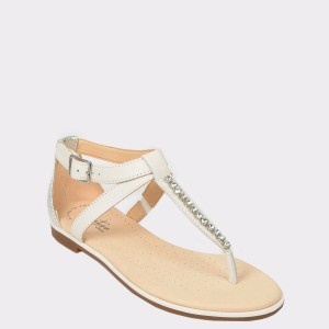 Sandale CLARKS albe, Baypopp, din piele naturala