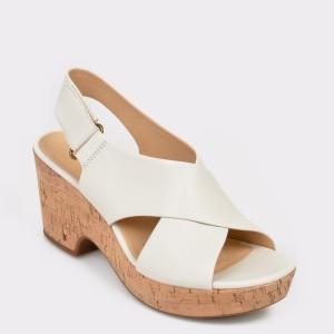Sandale CLARKS albe, Marilar, din piele naturala
