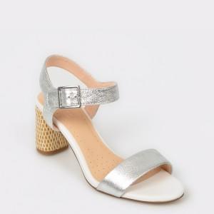 Sandale CLARKS argintii, Amalwea, din piele naturala
