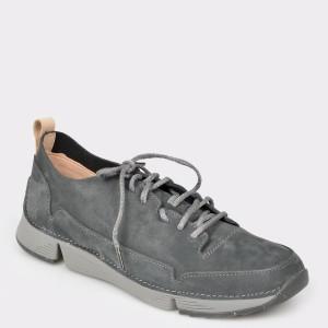 Pantofi sport CLARKS gri, Trispar, din piele naturala