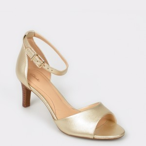 Sandale CLARKS aurii, Laurgra, din piele naturala
