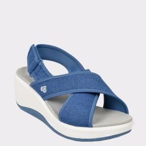 Sandale CLARKS albastre, Stecaco, din material textil