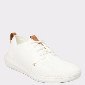 Pantofi sport CLARKS albi, Steurmi, din material textil