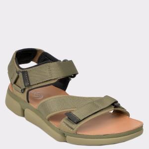 Sandale CLARKS kaki, Tricosu, din material textil si piele naturala