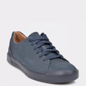 Pantofi CLARKS bleumarin, Un Costa Lace, din nabuc