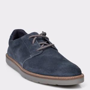 Pantofi CLARKS bleumarin, Granpla, din piele intoarsa