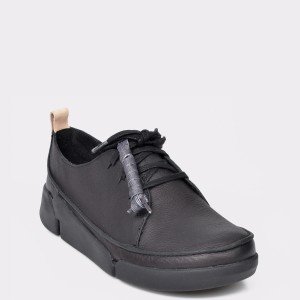 Pantofi Clarks Negri, Triclar, Din Piele Naturala