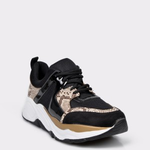 Pantofi sport FLAVIA PASSINI negri, 4268, din piele ecologica