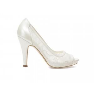 Pantofi EPICA albi pentru mireasa 8637 din material textil