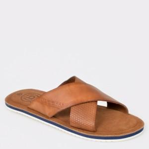 Papuci BUGATTI maro, 70380, din piele naturala