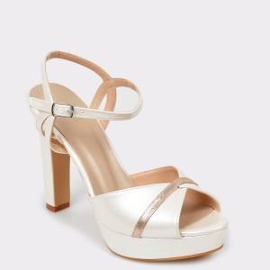 Sandale EPICA albe pentru mirese, 1702295, din piele ecologica