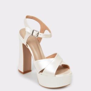 Sandale EPICA albe pentru mireasa, 3447171, din piele ecologica