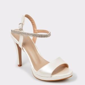 Sandale EPICA albe pentru mireasa, 6022990, din piele ecologica