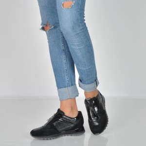Pantofi GEOX negri, D84Aqa, din piele naturala