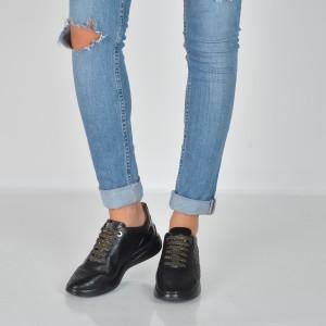 Pantofi Geox Negri, D828sc, Din Piele Ecologica