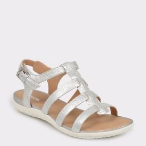 Sandale GEOX argintii D72R6A din piele naturala