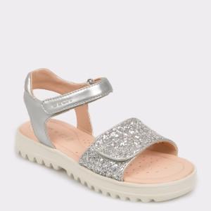 Sandale pentru copii GEOX argintii, J926Ea, din piele ecologica